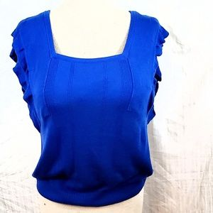 Attention Blue Knit Top Sleeveless Square Neck